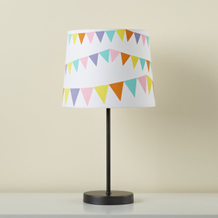 Kids Lighting: Kids Graphite Table Lamp Base With Pennant Fabric Printed Shade - Pennant Shade