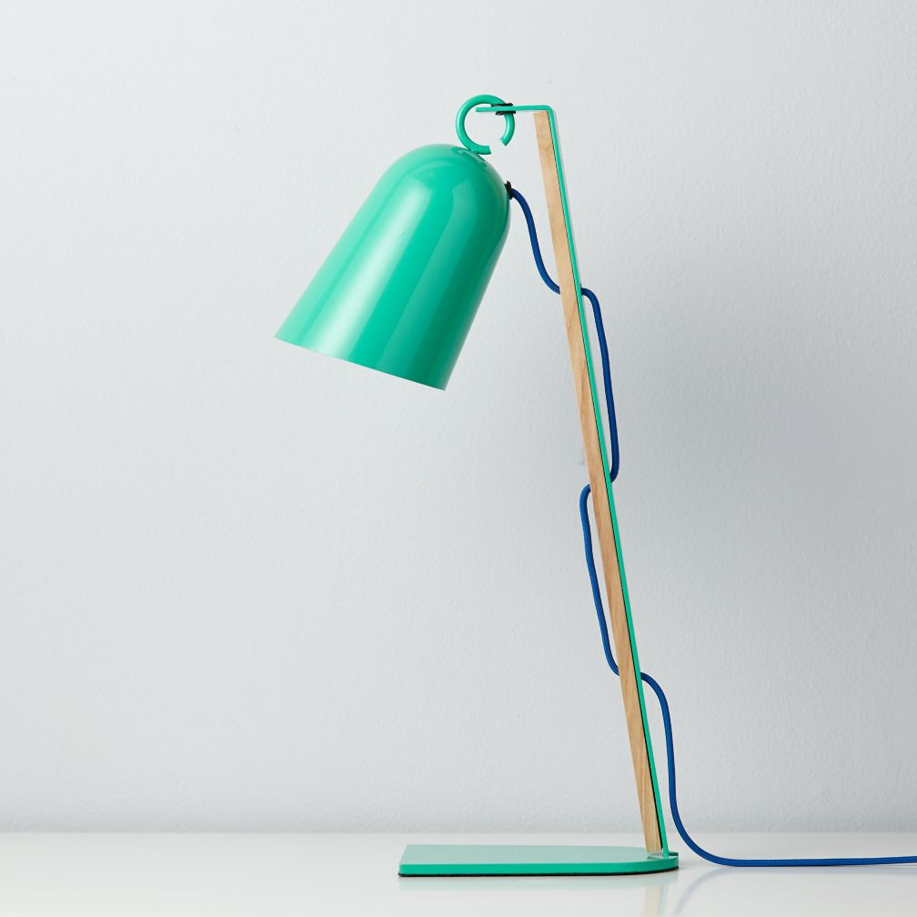 Mixed Media Table Lamp (Teal)