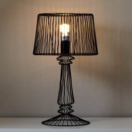 Wire Table Lamp (Black) - Black Real Light Wire Table Lamp