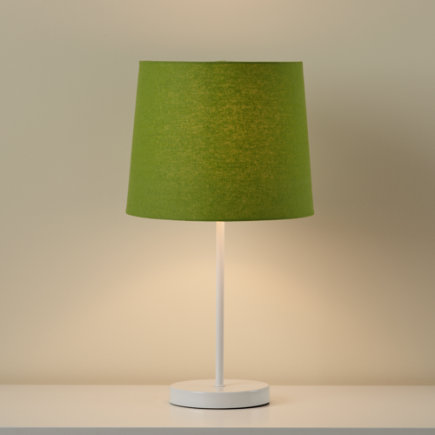 Kids Lighting: Kids White Table Lamp Base with Green Fabric Shade - Green Light Years Table Lamp Shade