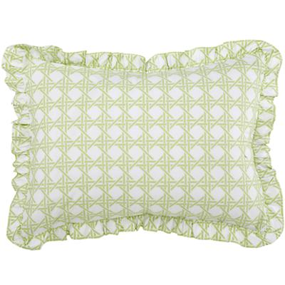 Green Lattice Ruffle Sham