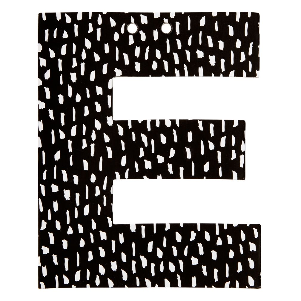 E Black and White Letter