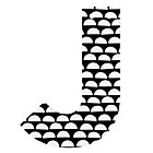 J Black and White Wall Letter