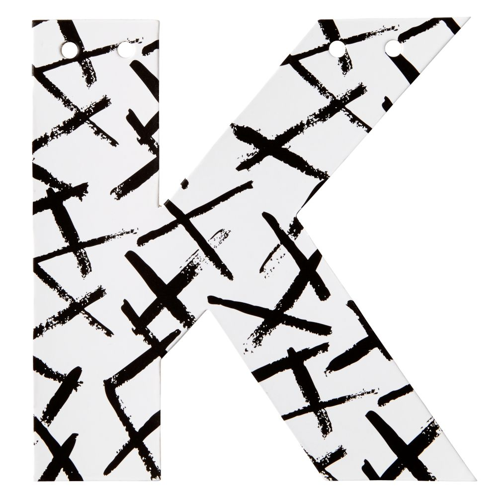 K Black and White Letter