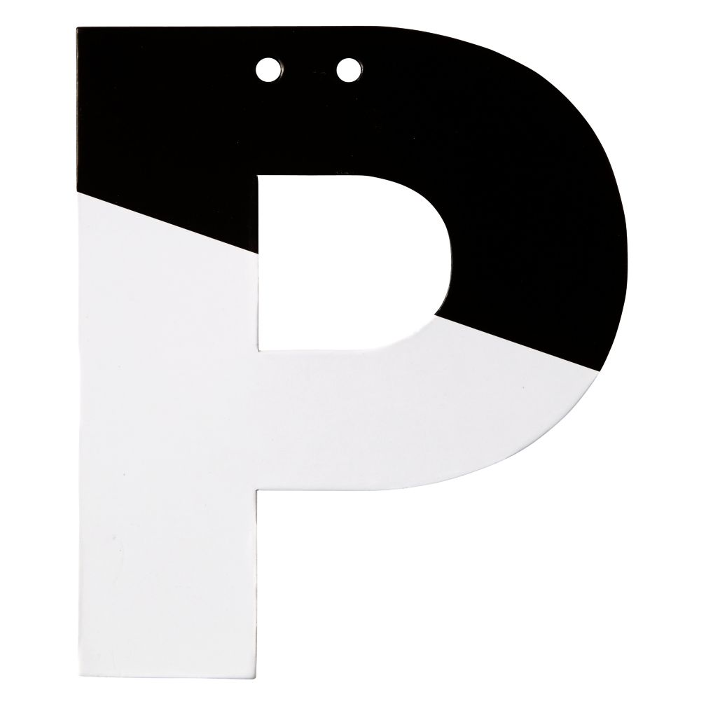 P Black and White Letter