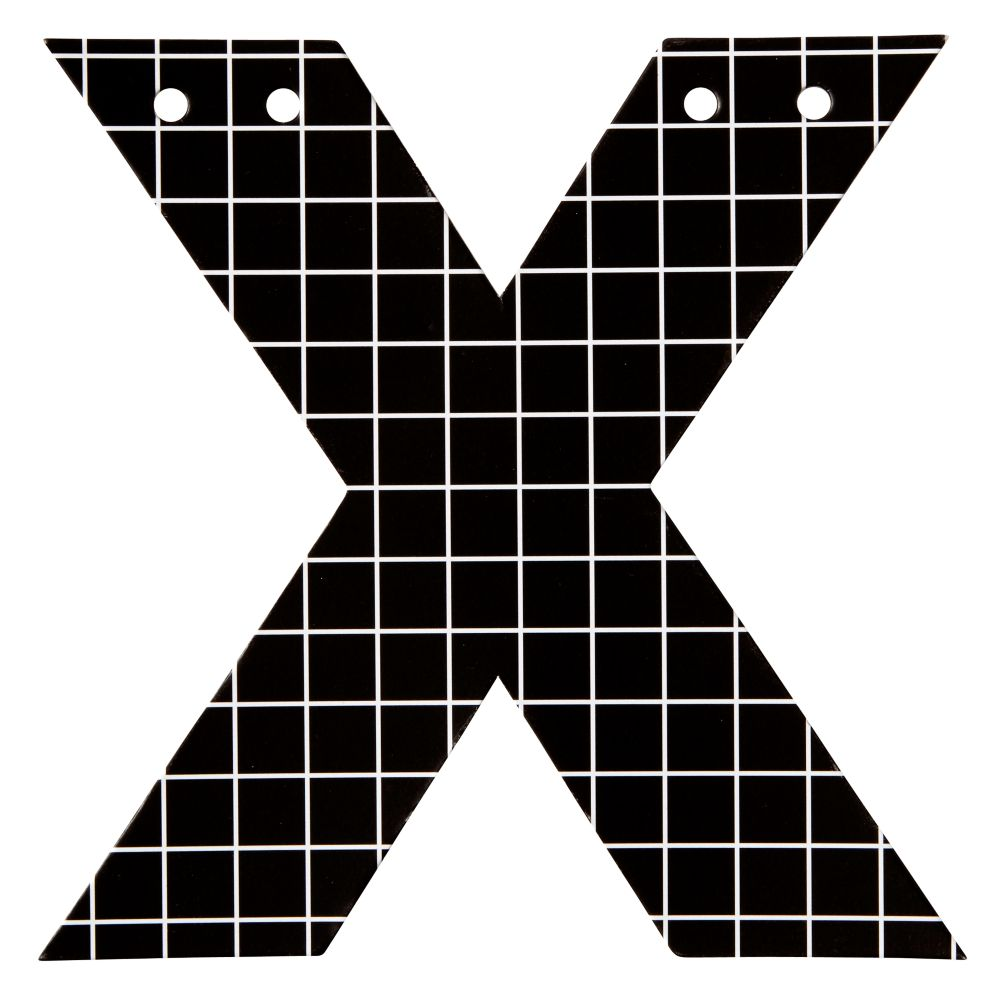 X Black and White Letter