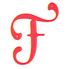 F Neon Calligraphy Letter.