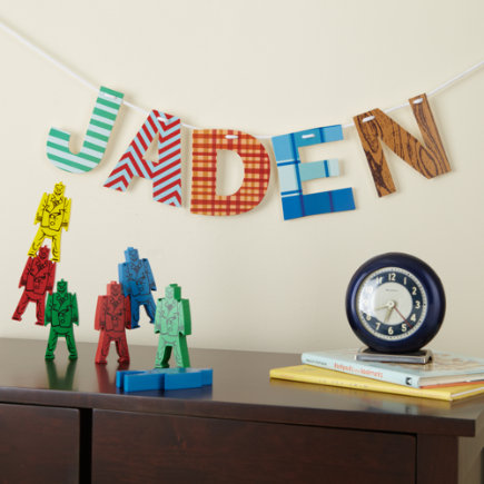 Kids Banners & Hanging Decor: Boys Vintage Patterened Letters Wall Decor - A Spell Ya Later Boy Letter