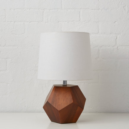 Wooden Geometric Table Lamp Base - Wood Rock Lamp Base
