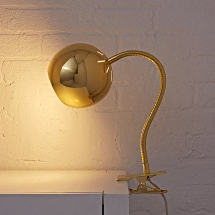 Kids Lighting: Gold Vintage Clip On Table Lamp - Gold Modern Clip Lamp