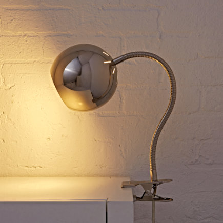 Kids Lighting: Silver Vintage Clip On Table Lamp - Silver Modern Clip Lamp