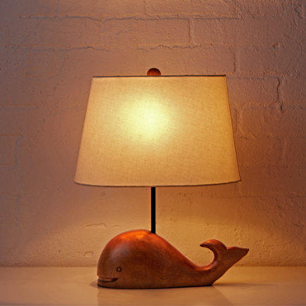 Wooden Whale Table Lamp - Thar She Glows Whale Lamp