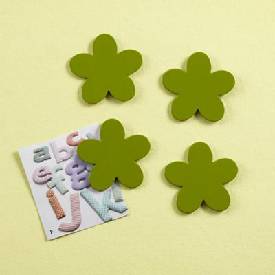 Green Flower Magnets (Set of 4)
