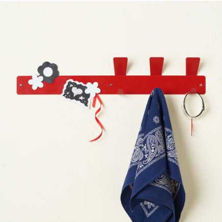 Kids Storage: Kids Magnet Strip Hooks - Red Hook Magnet Strip
