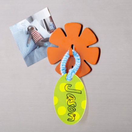 Kids Storage: Kids Flower Magnet Hook - Orange Flower Magnet Hook