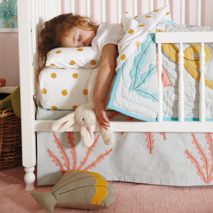 Crib Skirts: Marine Octopus Crib Skirt - Grey & Pink Coral Crib Skirt