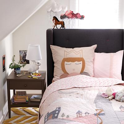 Marquee Upholstered Bed (Grey w/Hot Pink)
