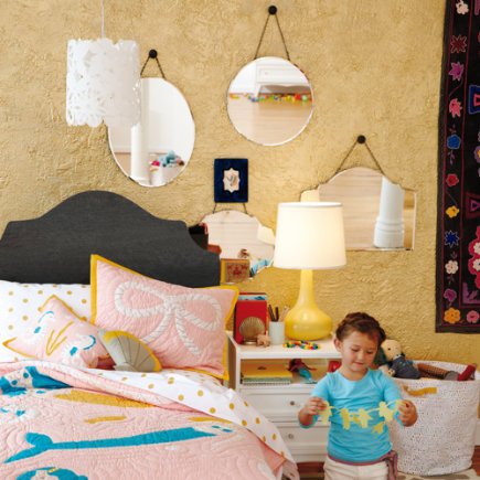 Kids Room Decor: Kids Hanging Headboard Mirror - Headboard Marvelous Mirror