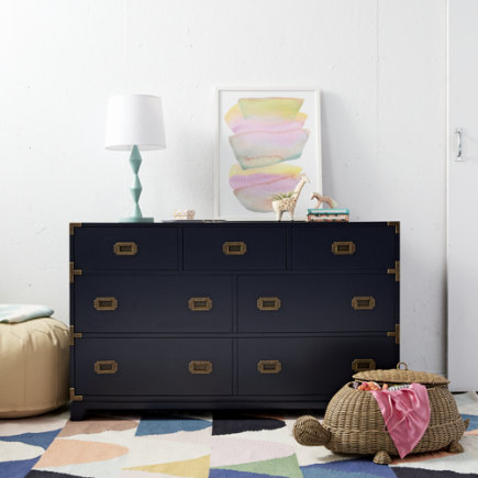 Midnight Blue Campaign Wide Dresser