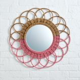 Sunrise Rattan Mirror (Pink)