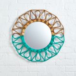Sunrise Rattan Mirror (Teal)