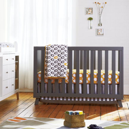 Baby Crib Bedding: Baby Grey & Yellow Patterned Crib Bedding - Not a Peep Baby Quilt