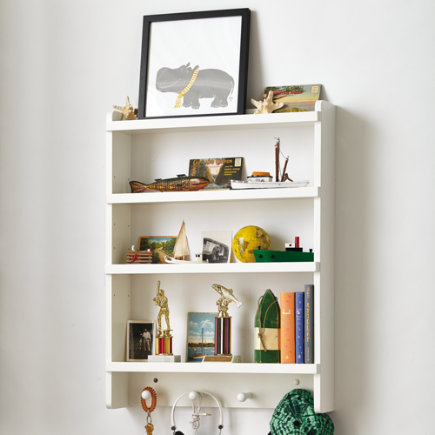 Kids Wall Rack: White Hanging Wall Book Shelf - White Straight & Narrow Wall Rack