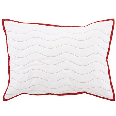 White/Red Nautical Quilted Sham