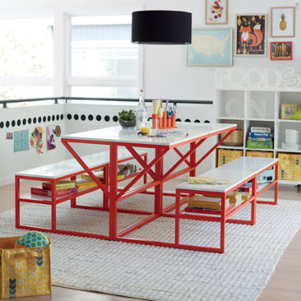 New School Kids Play Table (Red) - Red-Orange-White School Table and Bench