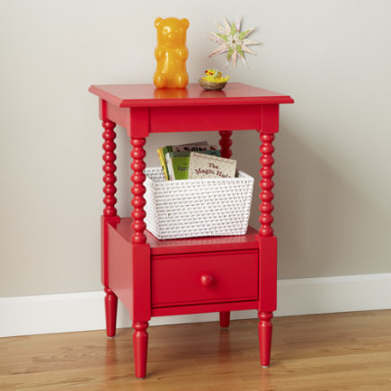 Kids Nightstand: Kids Raspberry Red Spindle Nightstand - Raspberry Jenny Lind Nightstand