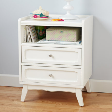 Kids Nightstands: Monarch White Scalloped Nightstand - White Monarch Nightstand