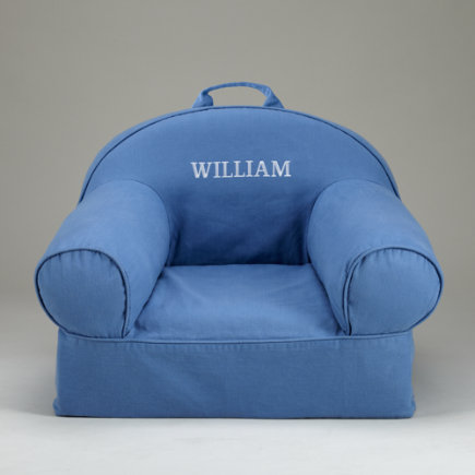 Kids Personalized Seating: Kids Personalized Denim Blue Nod Chair - Blue Personalized Nod Chair Includes Cover And Insert<br /><span Style=color:#ff0000>free Embroidered Personalization