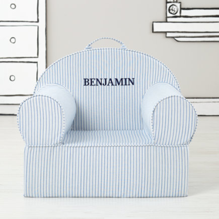 Personalized Blue Tick Stripe Nod Chair