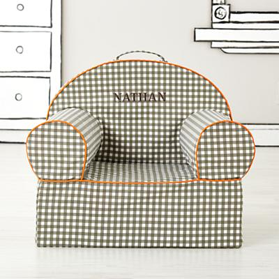 Executive Personalized Grey Gingham Nod Chair Cover (Grey Gingham)