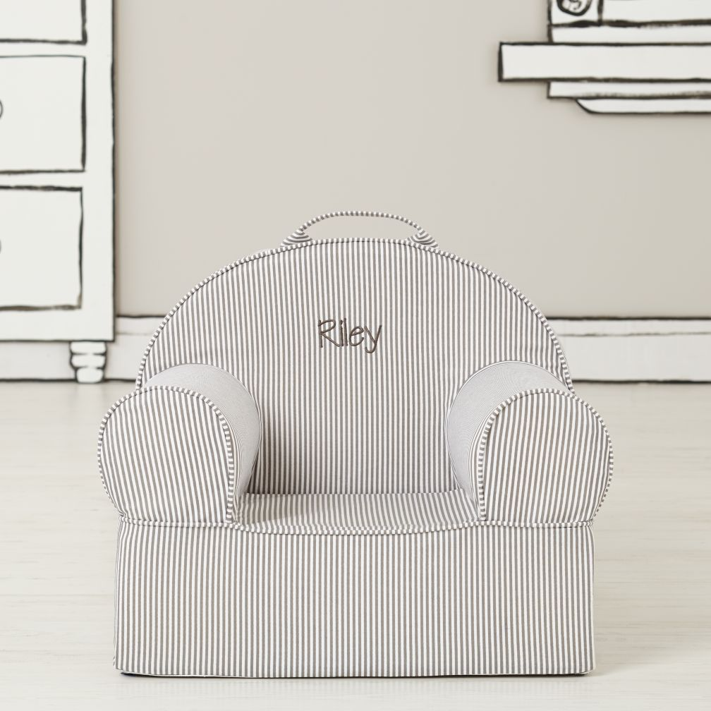 Entry Level Grey Stripe Personalized Nod Chair Cover