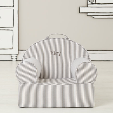 Personalized Grey Stripe Mini Nod Chair(Includes Cover and Insert)