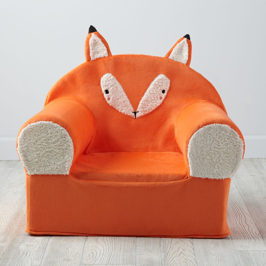 Furry animal nod chair fox for Personalized kids soft chairs