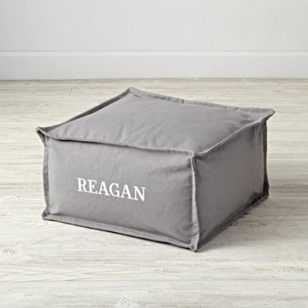 Small Grey Square Kids Pouf - Square Grey Personalized One Seater(Includes Cover and Insert)