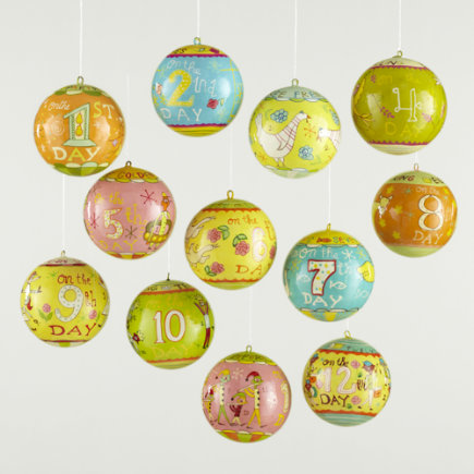 Kids Ornaments: 12 Days of Christmas Ornament Set - Michael Mabry Ornaments (Set of 12) A Savings of $15