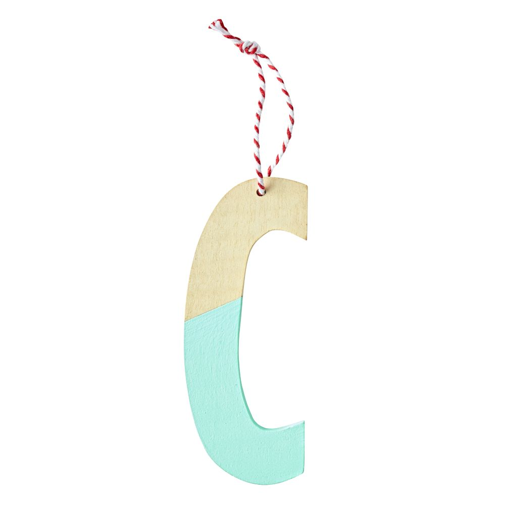 'C' Color Dipped Letter Ornament