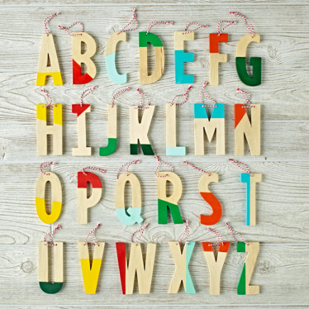 C Color Dipped Letter Ornament