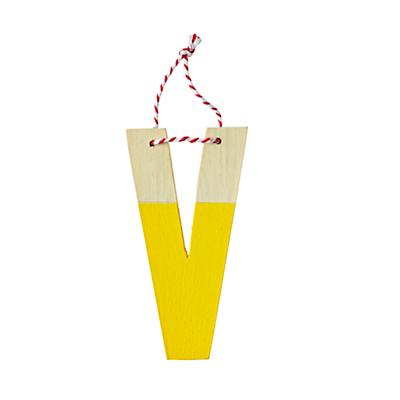 'V' Color Dipped Letter Ornament