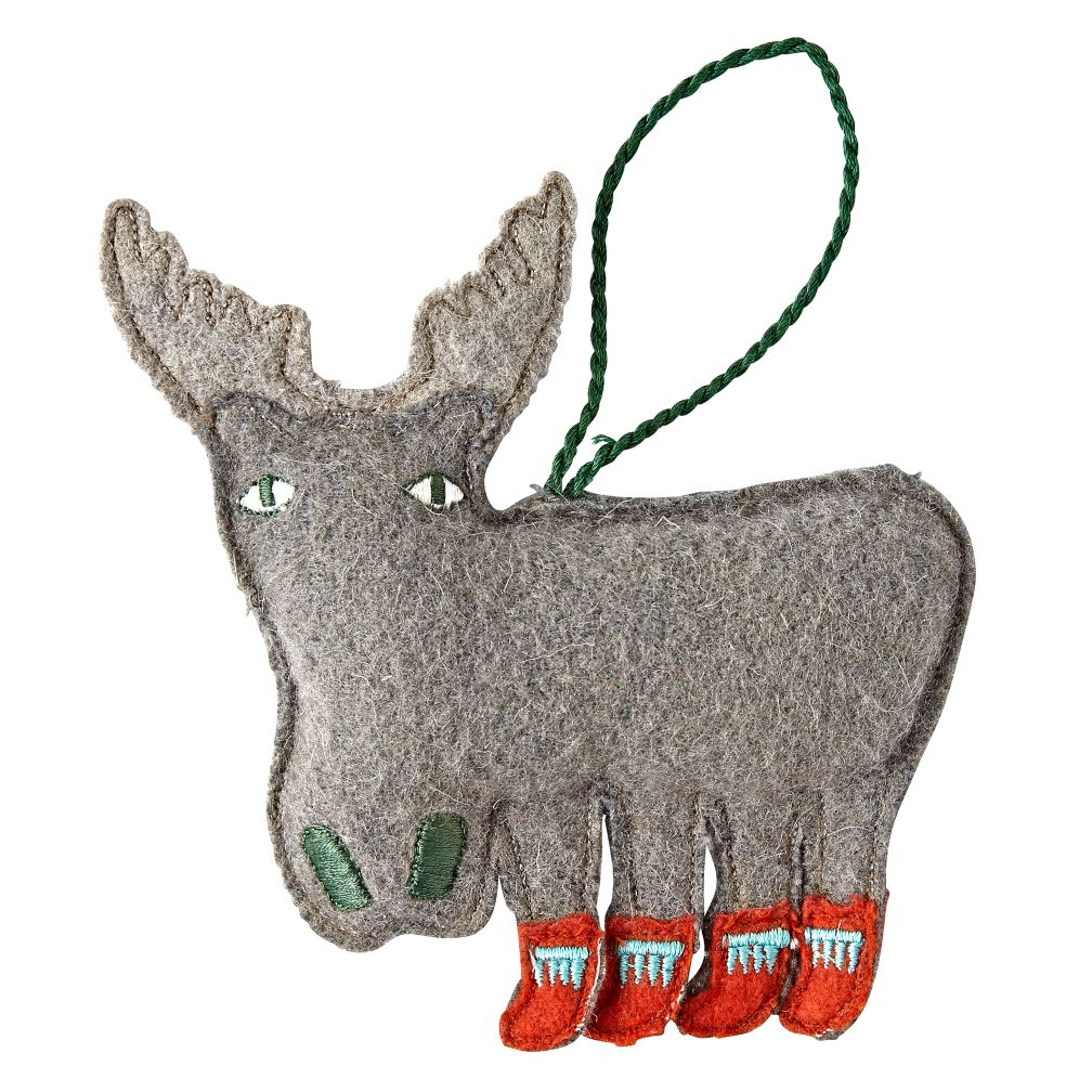 Moose Holiday Helper Christmas Ornament