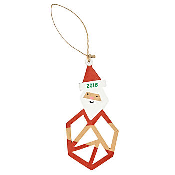 Jolly Geo Santa 2016 Ornament