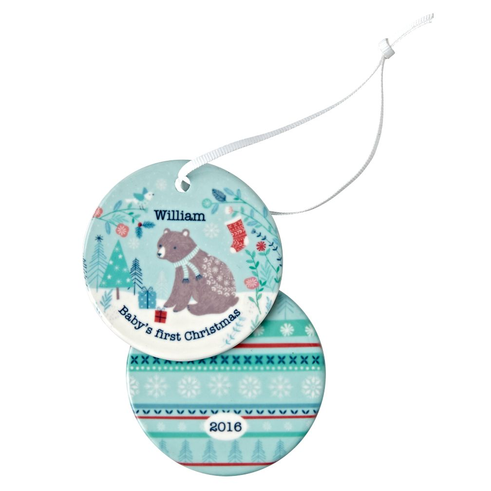 You Name It Blue Baby's First Ornament by Bethan Janine