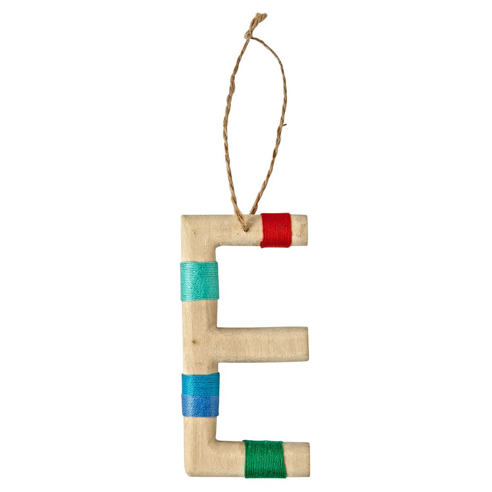 Wooden Letter E Ornament