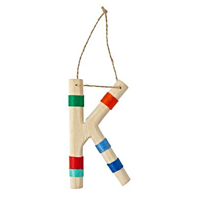 Wooden Letter K Ornament