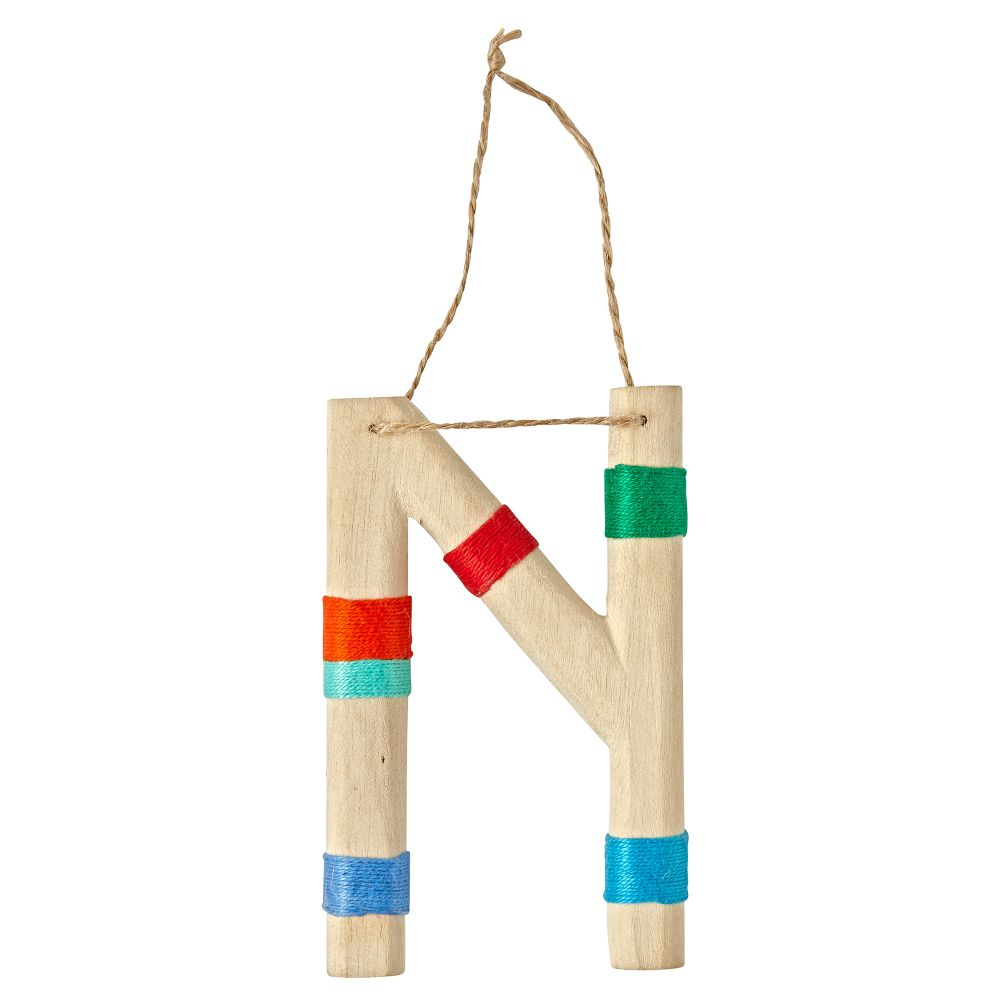 Wooden Letter N Ornament