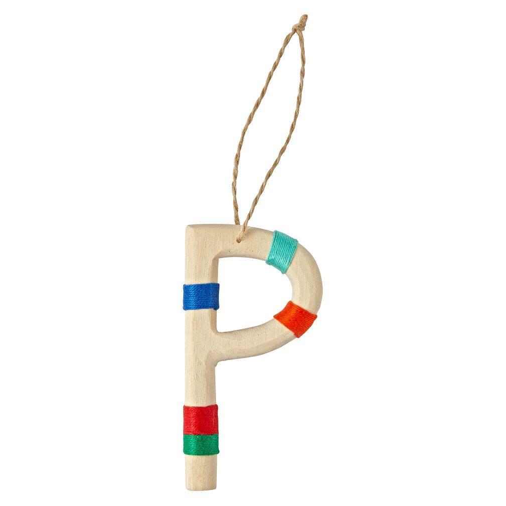 Wooden Letter P Ornament