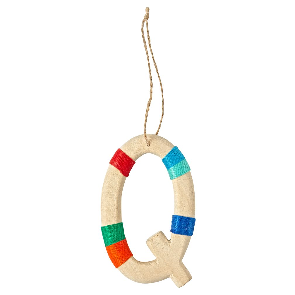 Wooden Letter Q Ornament